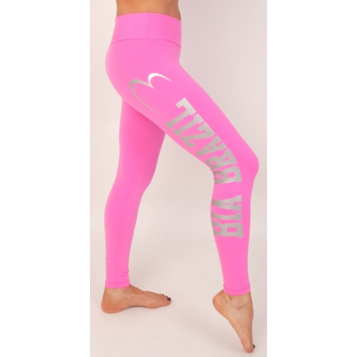 Bia Brazil Logo Leggings Pink with Silver Logo