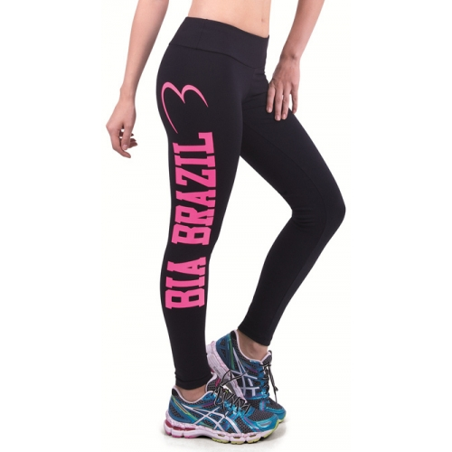 Bia Brazil Black Leggings Pink Logo