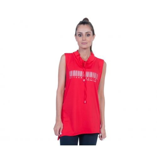 Bia Brazil Red Cowl Neck Determination Barcode Sleeveless Top