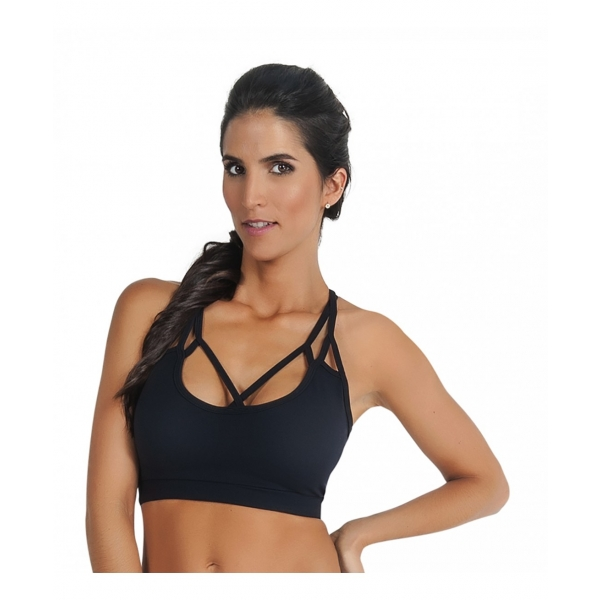 Criss Cross Black String Bra